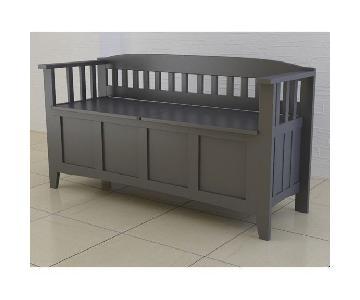 Linon Home Black Storage Bench