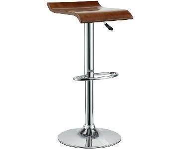 Manhattan Home Design Adjustable Bar Stool in Oak & Chrome