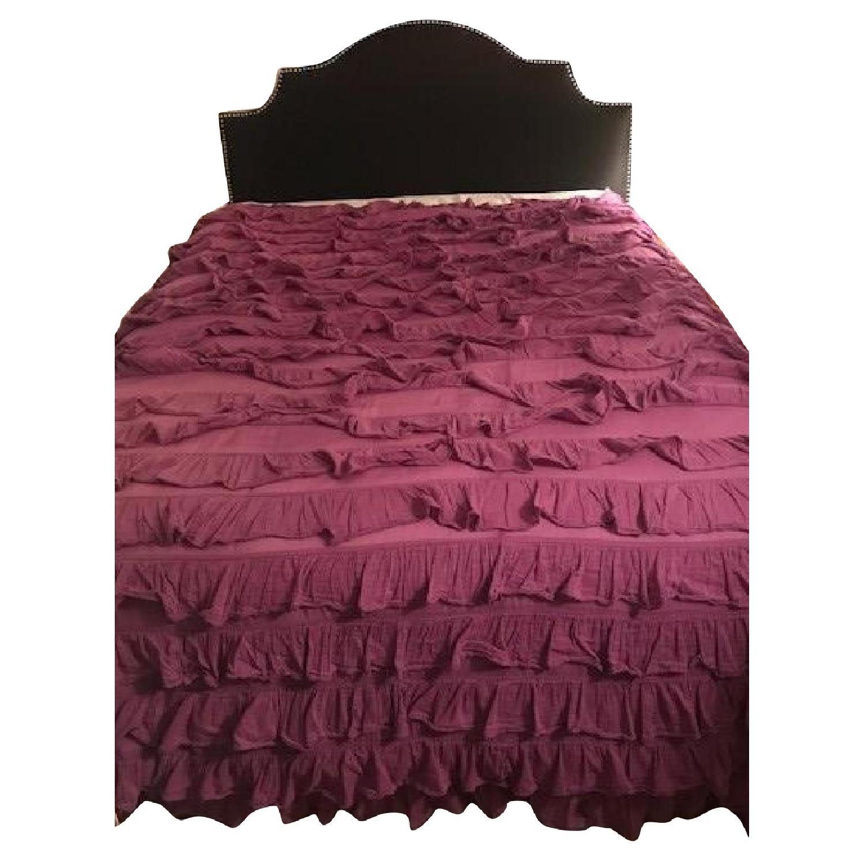 Full Size Black Upholstered Bed Frame w/ Studded Headboard