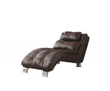 Brown Leatherette Chaise Lounge