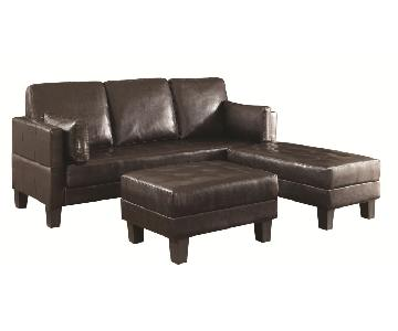 Dark Brown Leatherette Sleeper Sectional Sofa