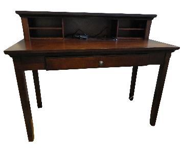 Solid Medium/Dark Wood Desk w/ Hutch