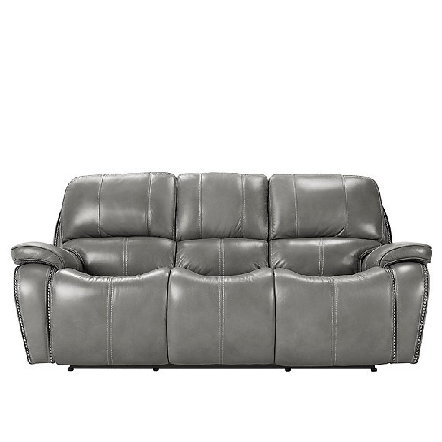Raymour & Flanigan Leather Power Reclining Sofa + Recliner