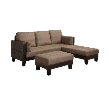 Dark Brown Leatherette & Beige Sleeper Sectional Sofa