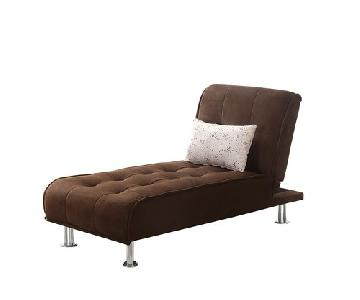 Brown Microvelet Convertible Chaise