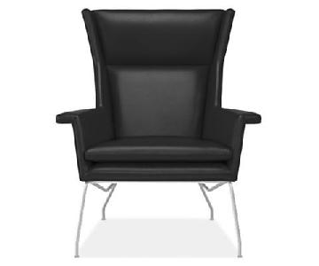 Room & Board Aidan Black Leather Chair & Ottoman