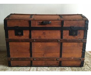 Antique 19th Century Wooden Dome Top Steamer Trunk Chest