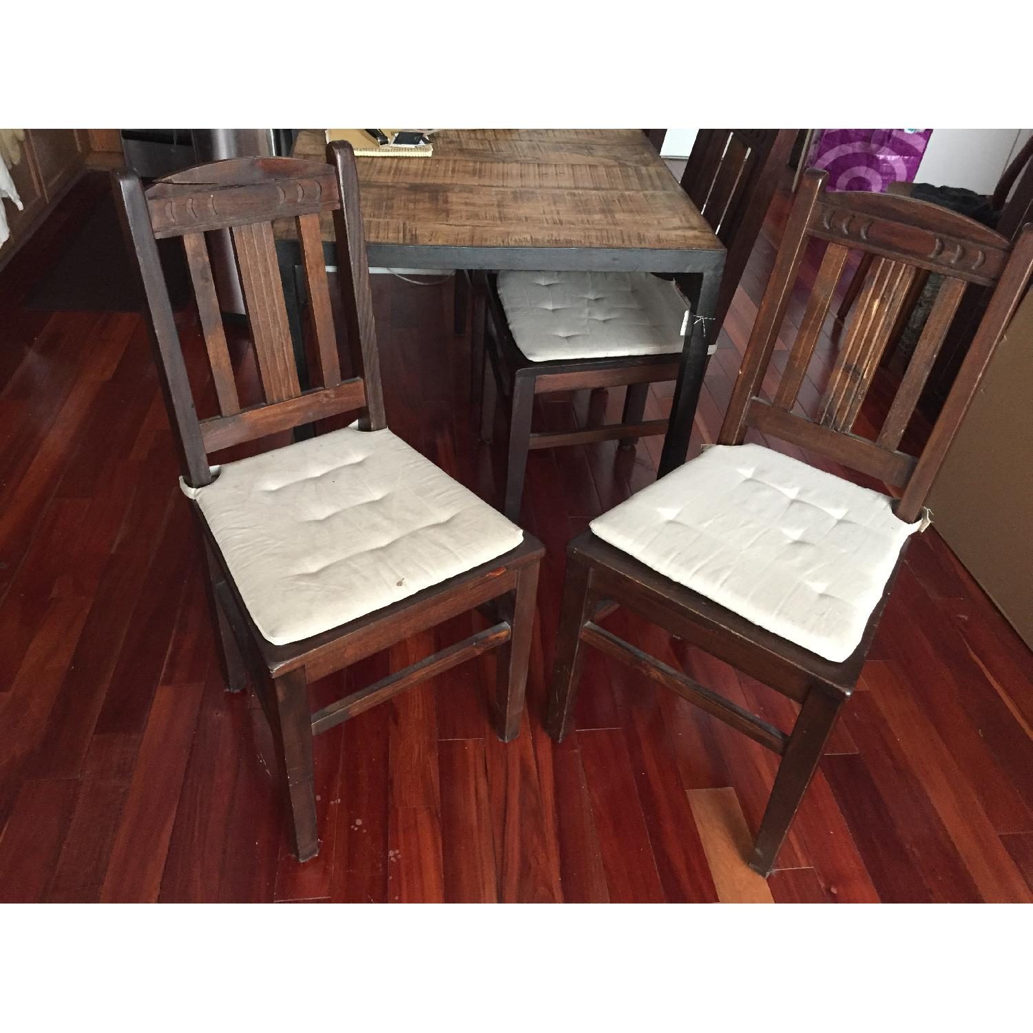 Dark Stained Wood Farm Table w/ 4 Chairs - image-1