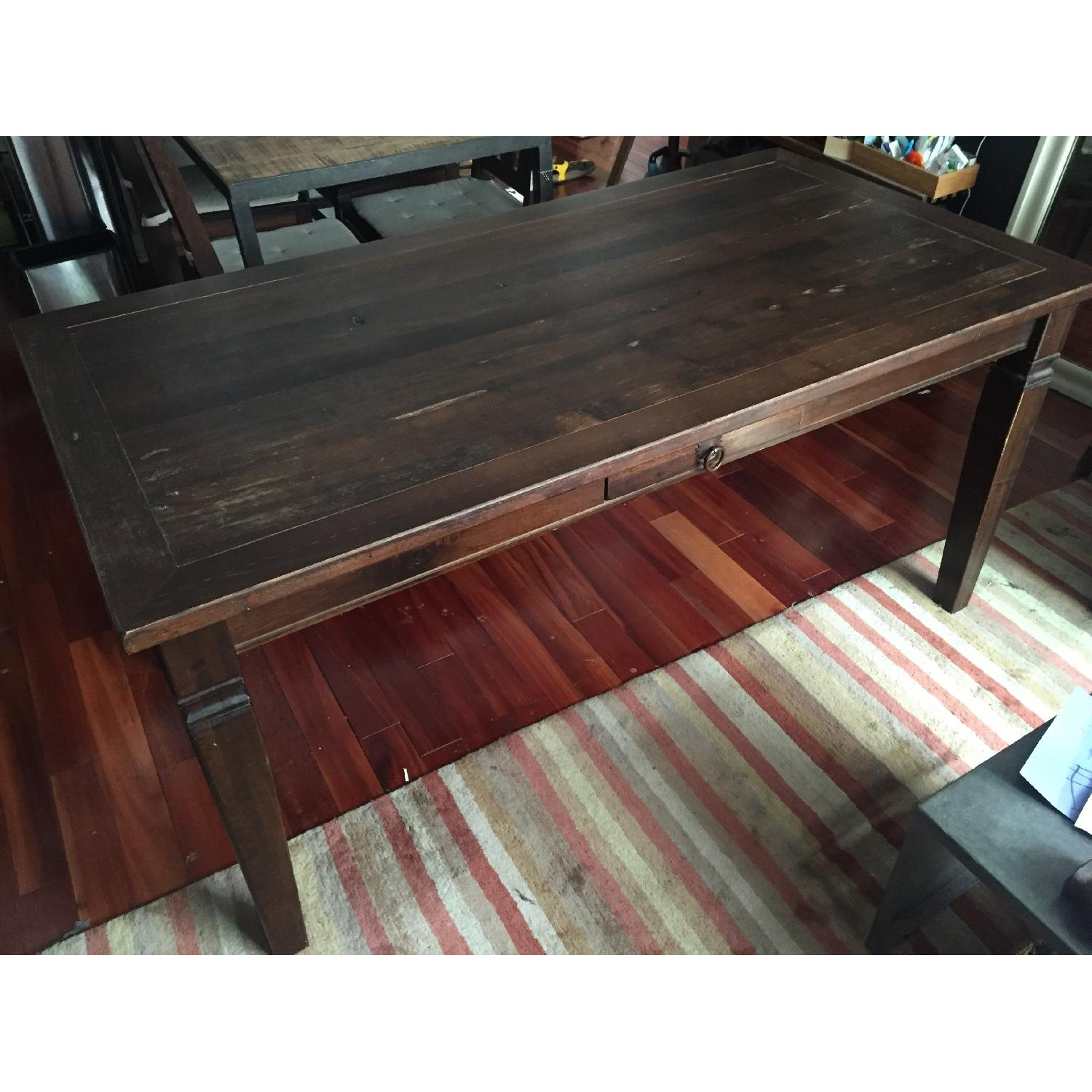 Dark Stained Wood Farm Table w/ 4 Chairs - image-2