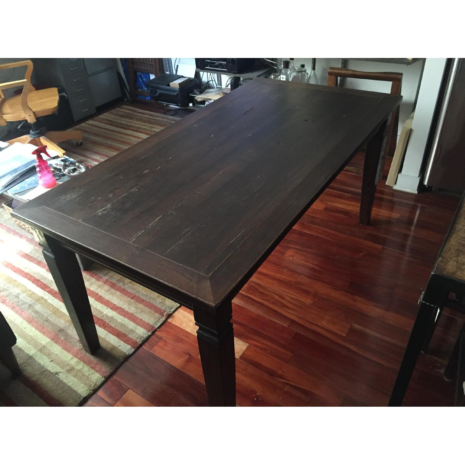Dark Stained Wood Farm Table w/ 4 Chairs - image-3
