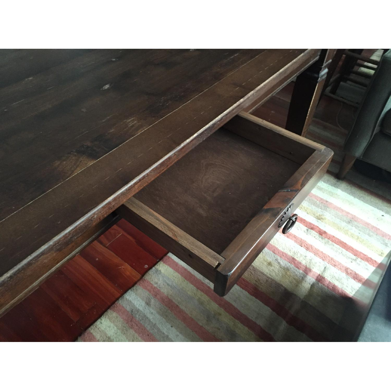 Dark Stained Wood Farm Table w/ 4 Chairs - image-4