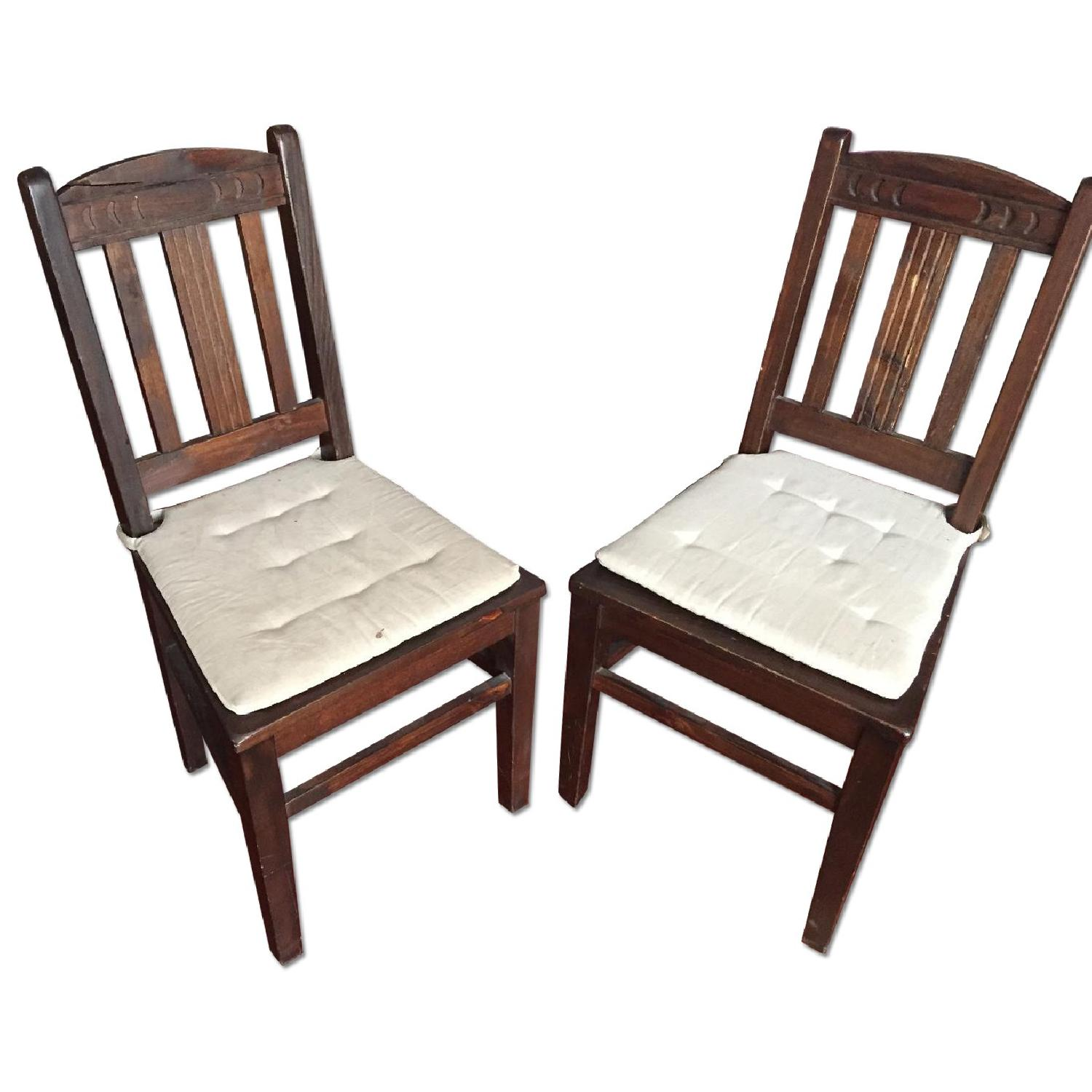 Dark Stained Wood Farm Table w/ 4 Chairs - image-5