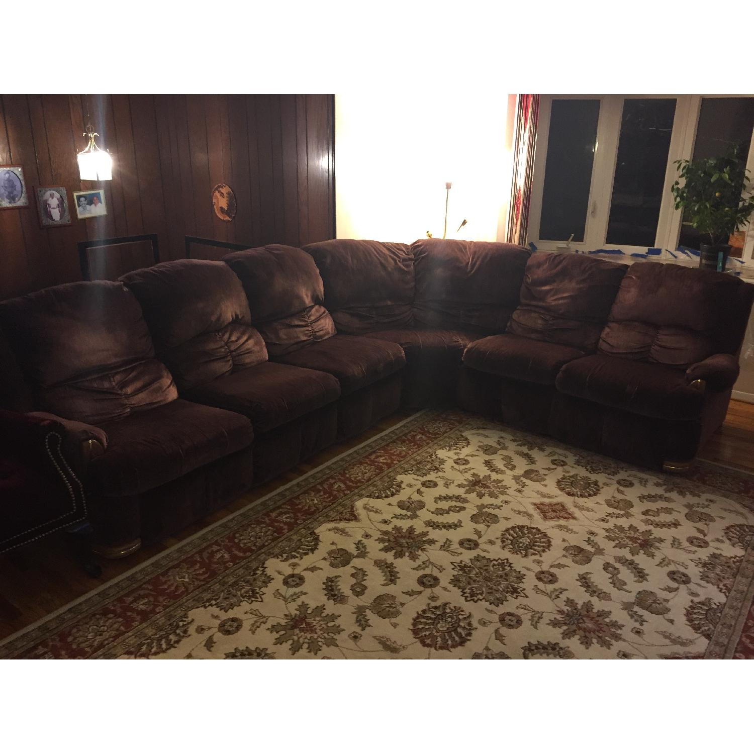 Burgundy Suede Sectional Sofa - image-1