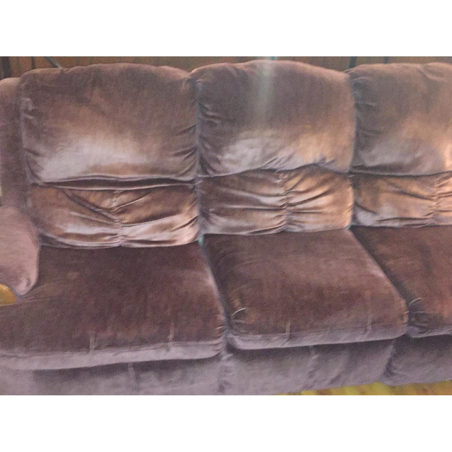 Burgundy Suede Sectional Sofa - image-2