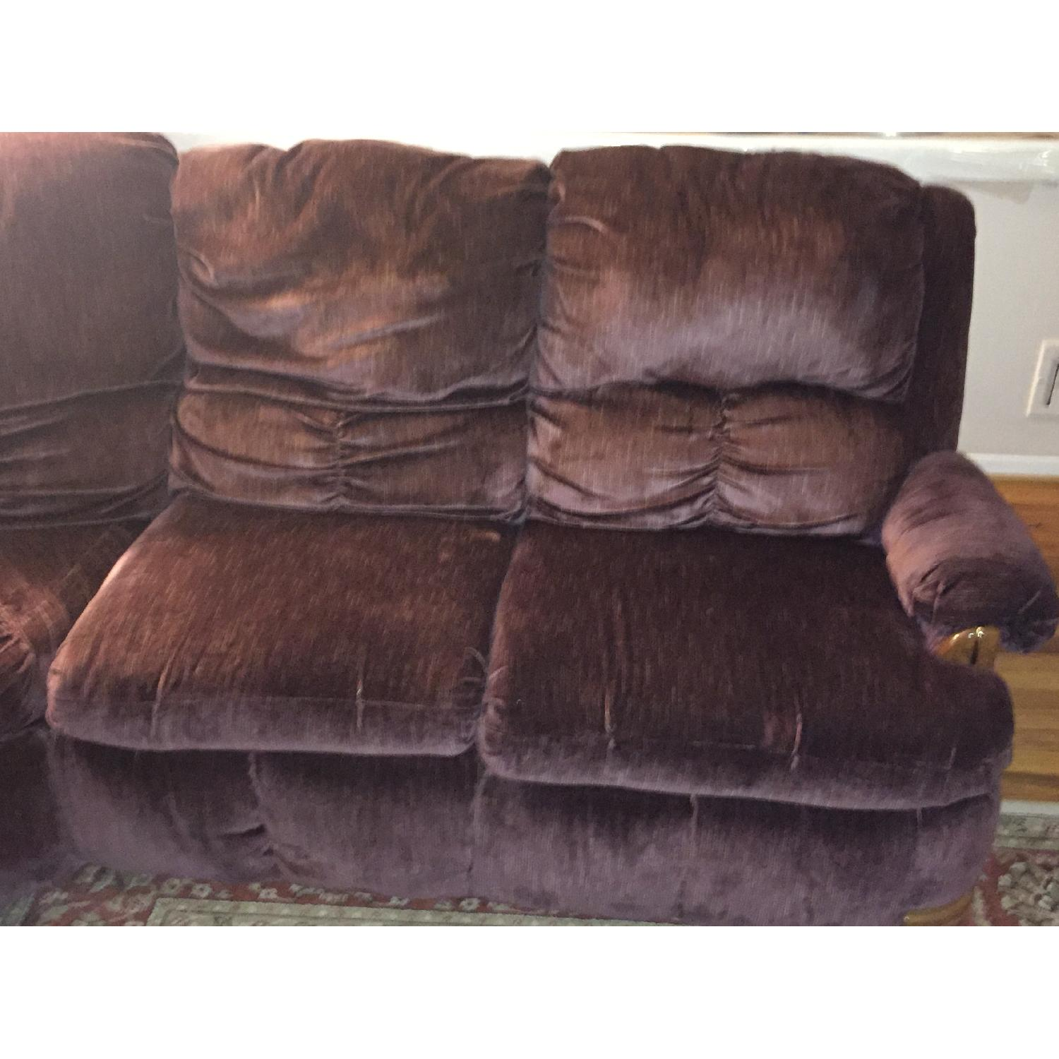 Burgundy Suede Sectional Sofa - image-3
