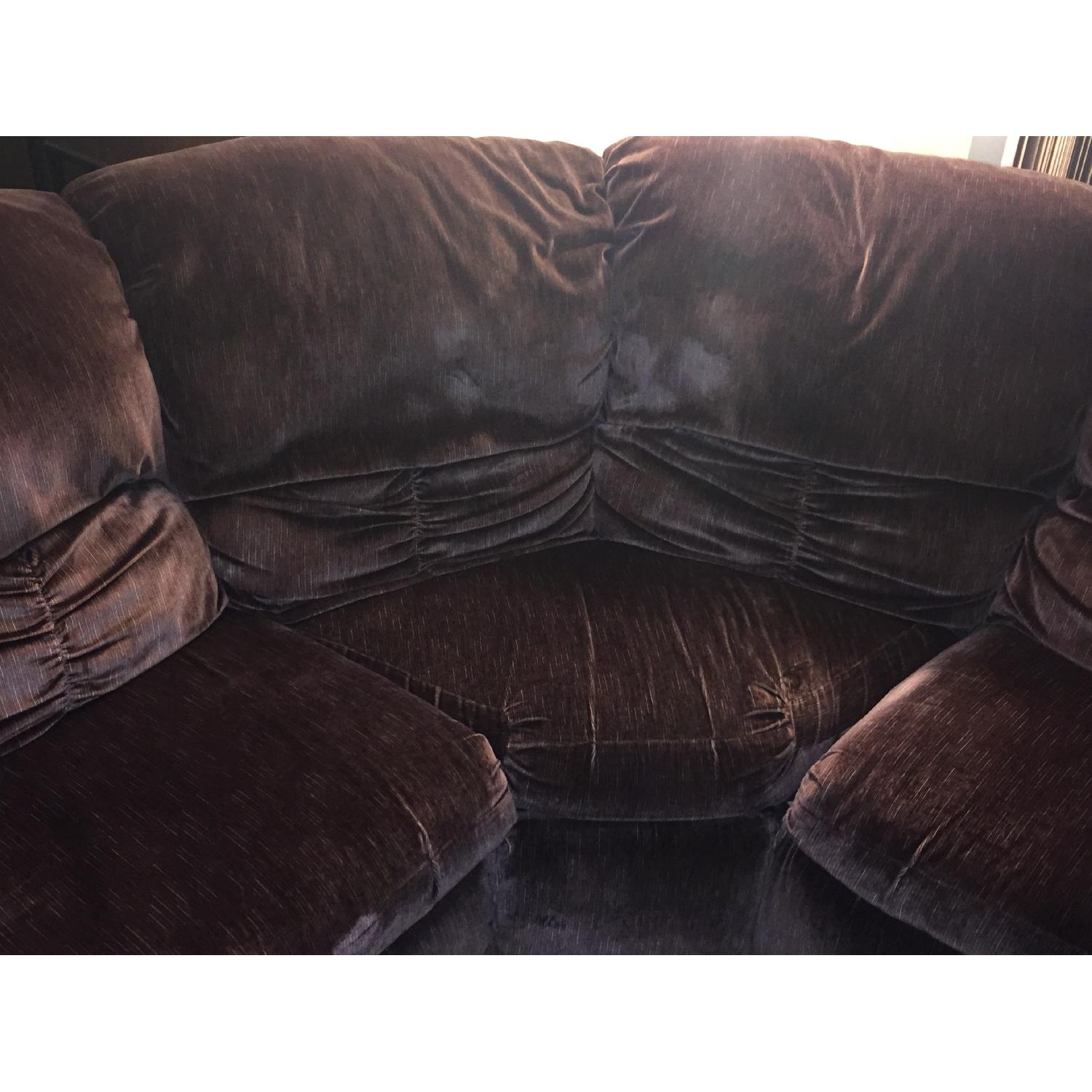 Burgundy Suede Sectional Sofa - image-4