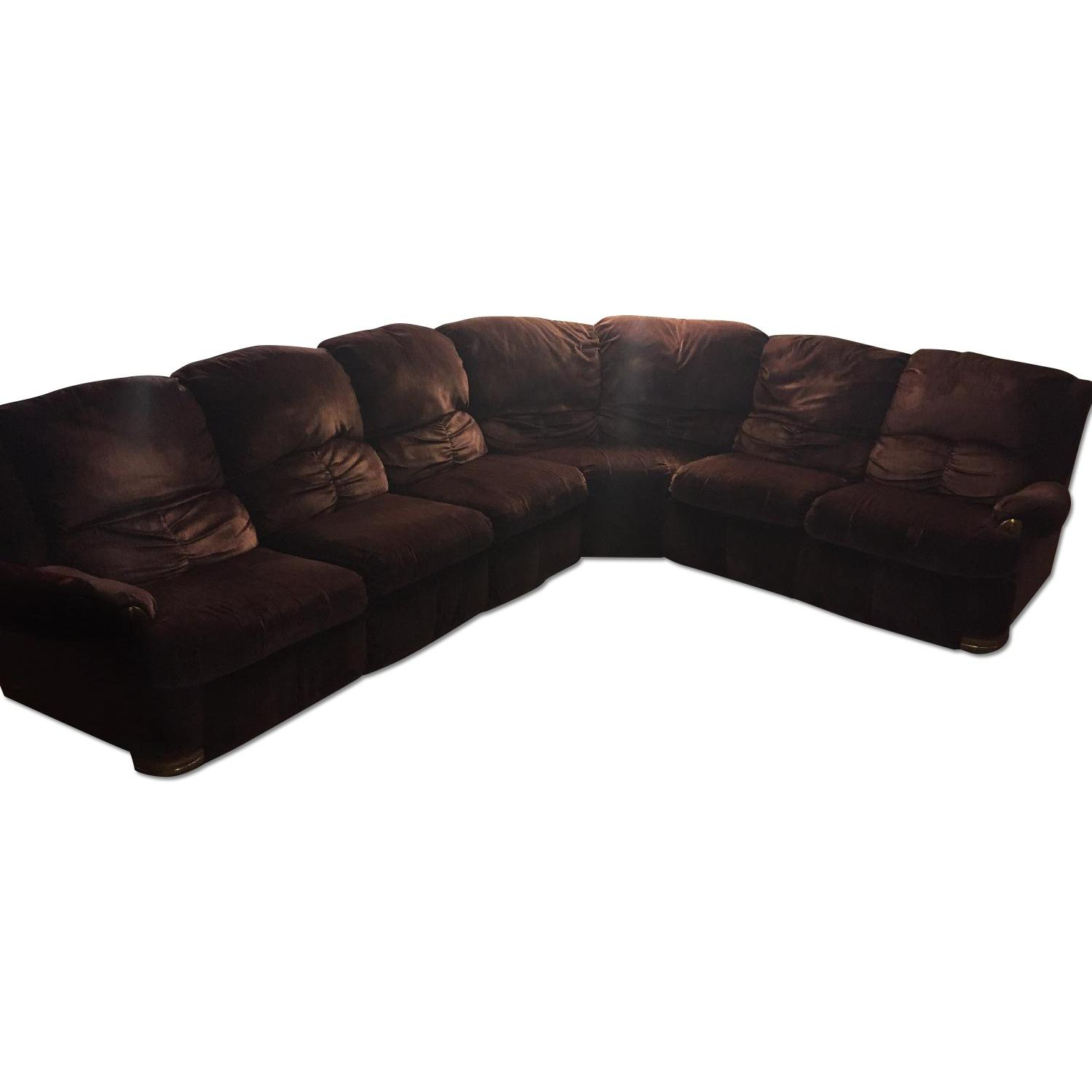 Burgundy Suede Sectional Sofa - image-0