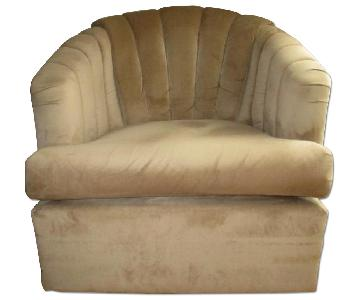 Raymour & Flanigan Camel Ultra Suede Swivel Chair