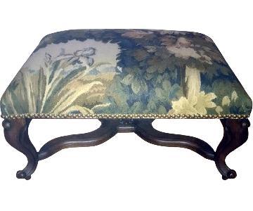 Floral Jacquard Footstool w/ Nailheads & Wood Legs