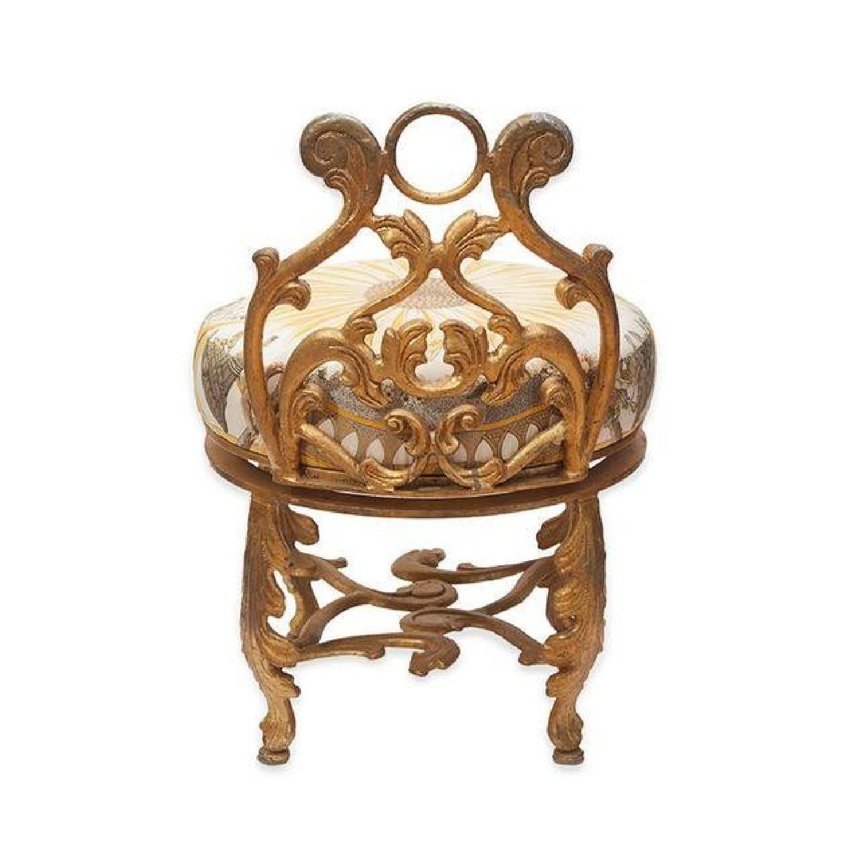 Gold Gilded Iron Vanity Stool in Hermes Silk - image-1