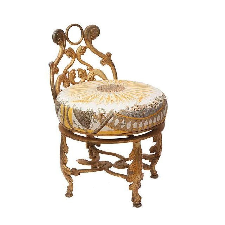 Gold Gilded Iron Vanity Stool in Hermes Silk - image-2