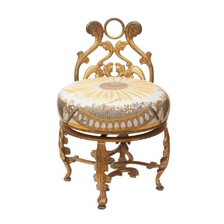 Gold Gilded Iron Vanity Stool in Hermes Silk - image-0