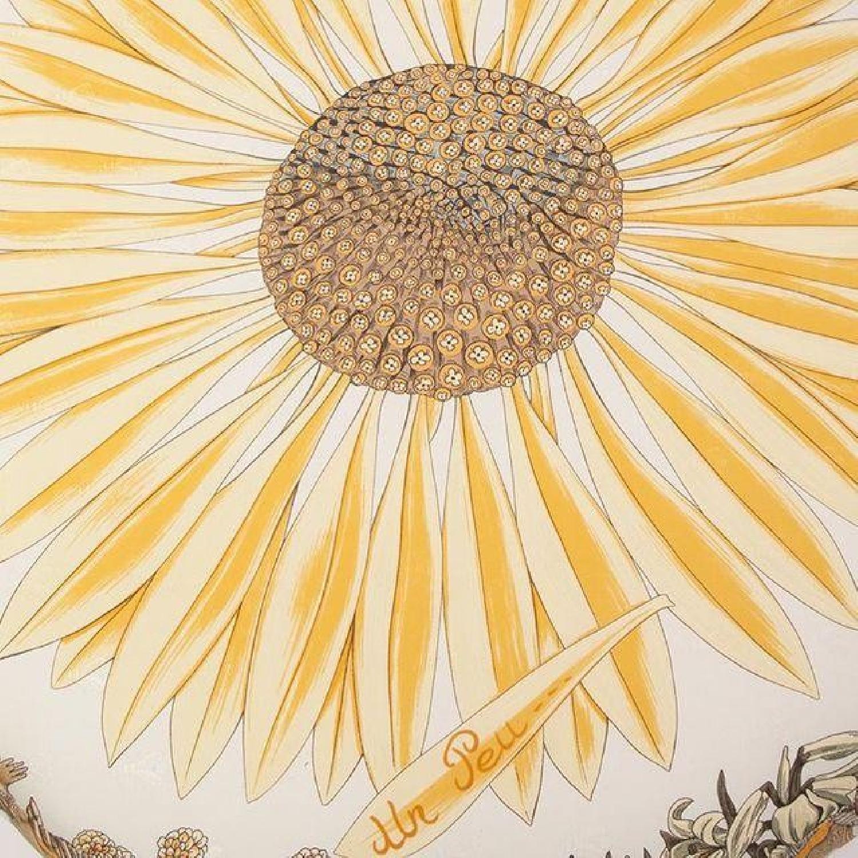 Gold Gilded Iron Vanity Stool in Hermes Silk - image-3