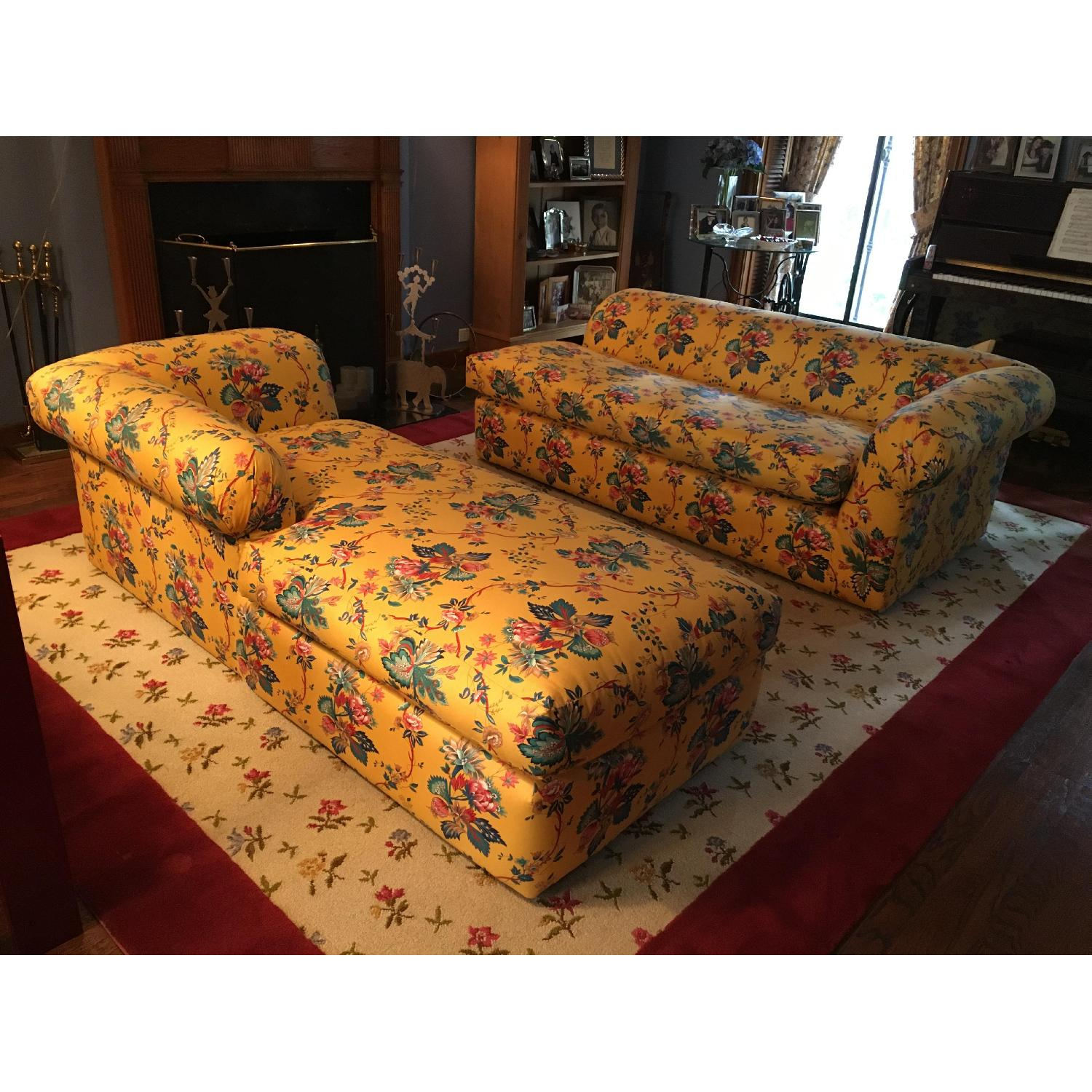 Yellow 2 Piece Floral Sectional Sofa - image-1