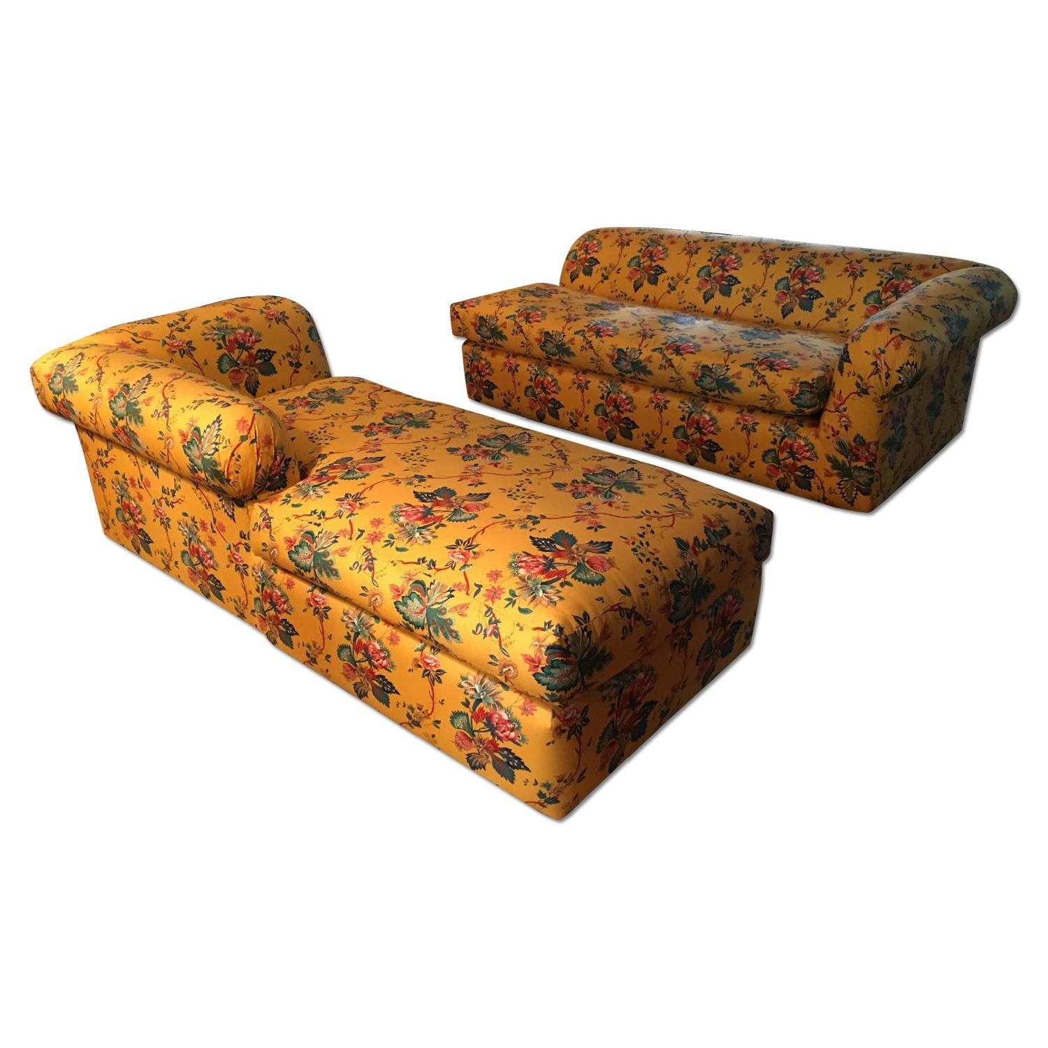 Yellow 2 Piece Floral Sectional Sofa - image-4