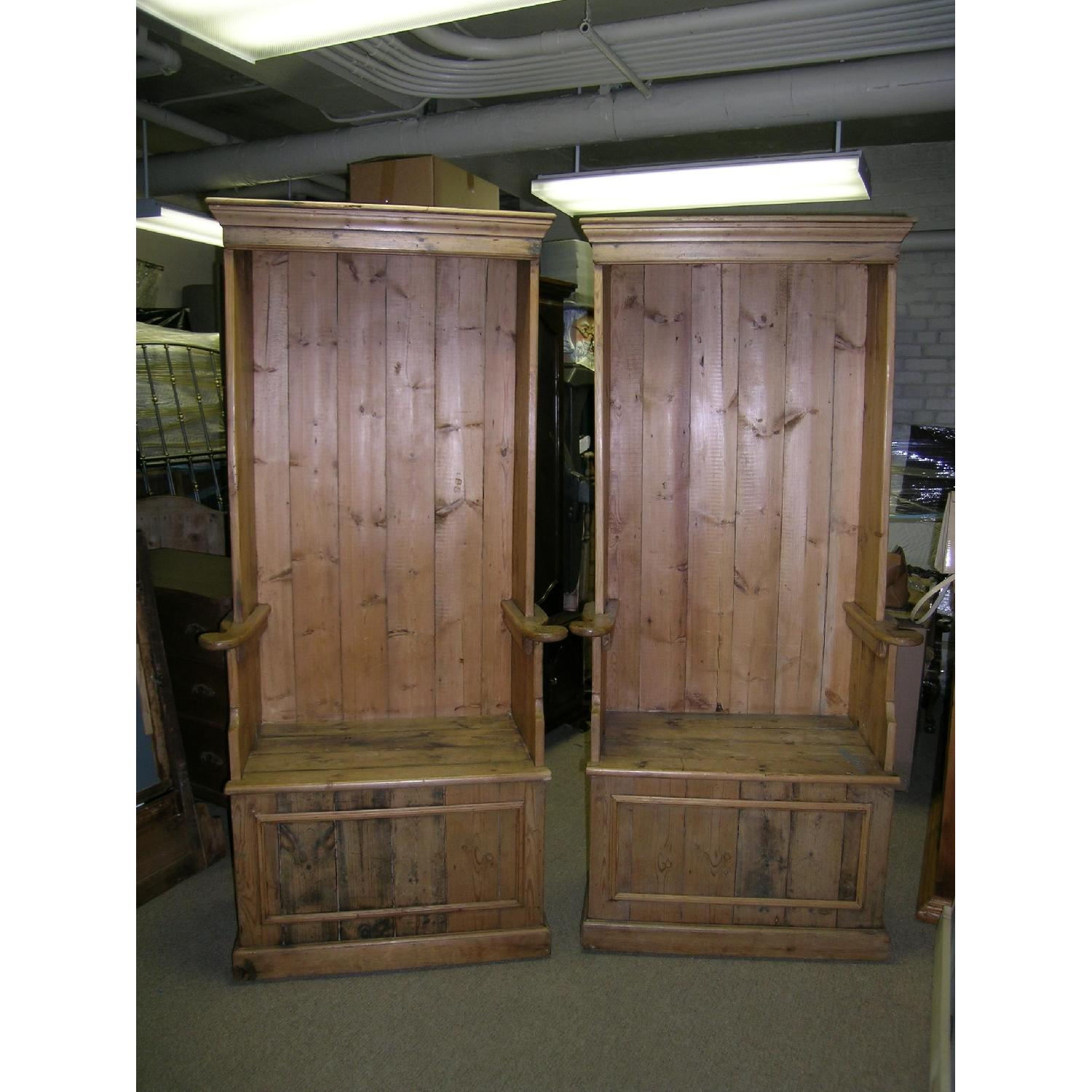 Antique Pine Porters Chairs - image-3