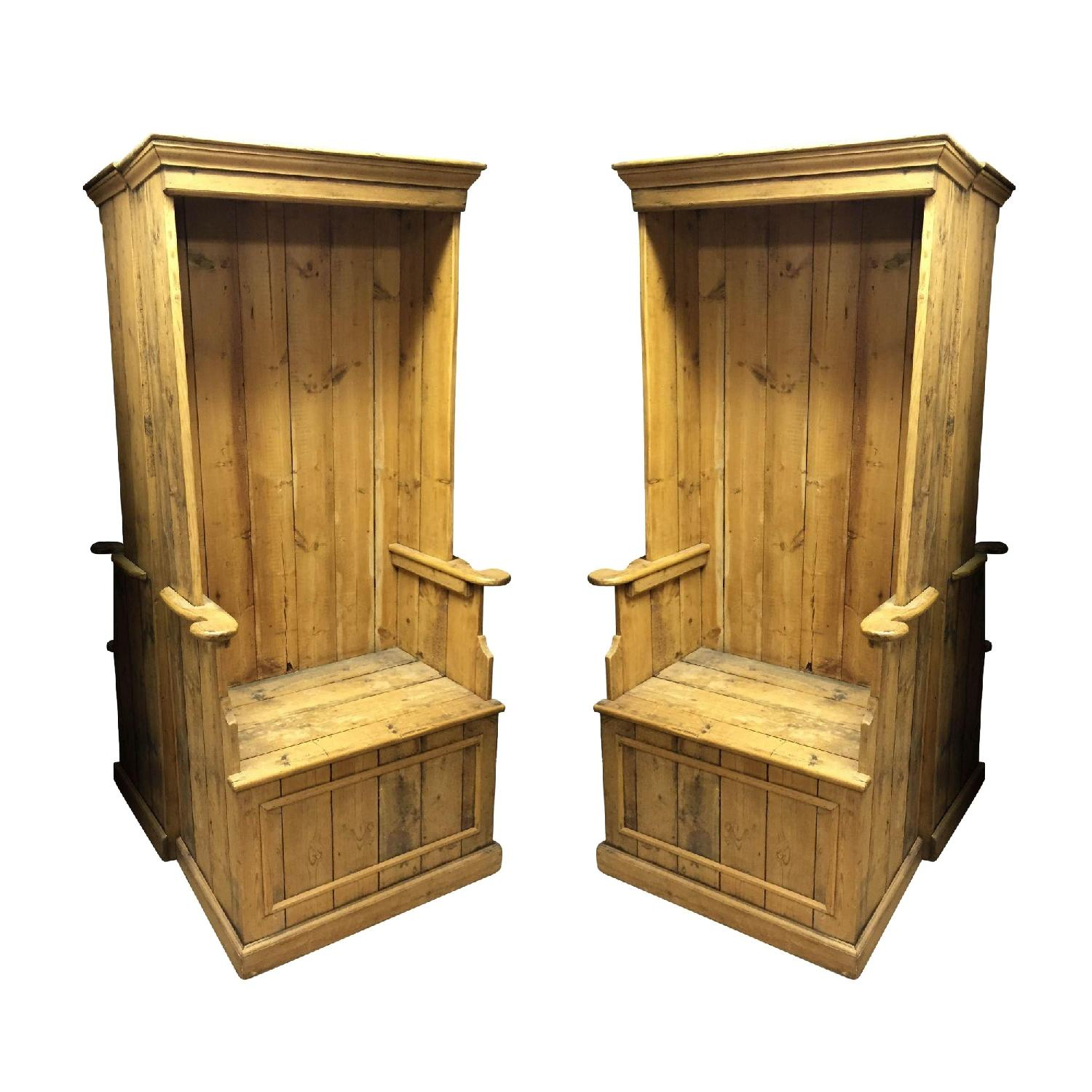 Antique Pine Porters Chairs - image-0