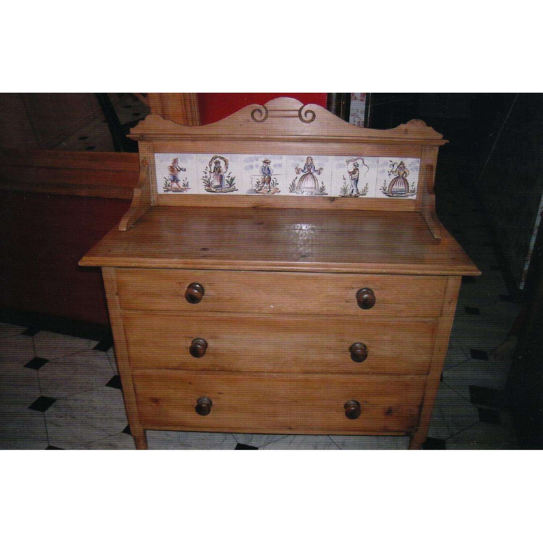 Antique Pine Dresser w/ Tile Back - image-3