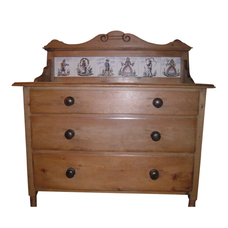 Antique Pine Dresser w/ Tile Back - image-0