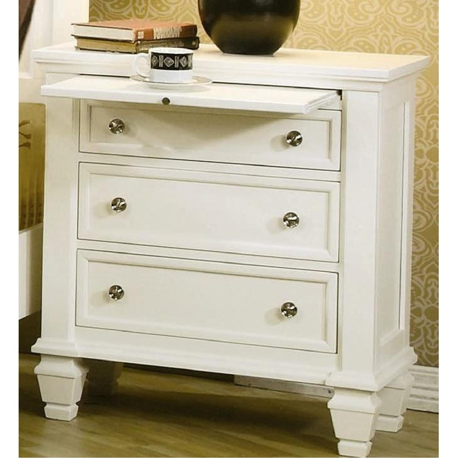 Large 3-Drawer Nightstand w/ Pull-Out Tray in White Finish - image-1