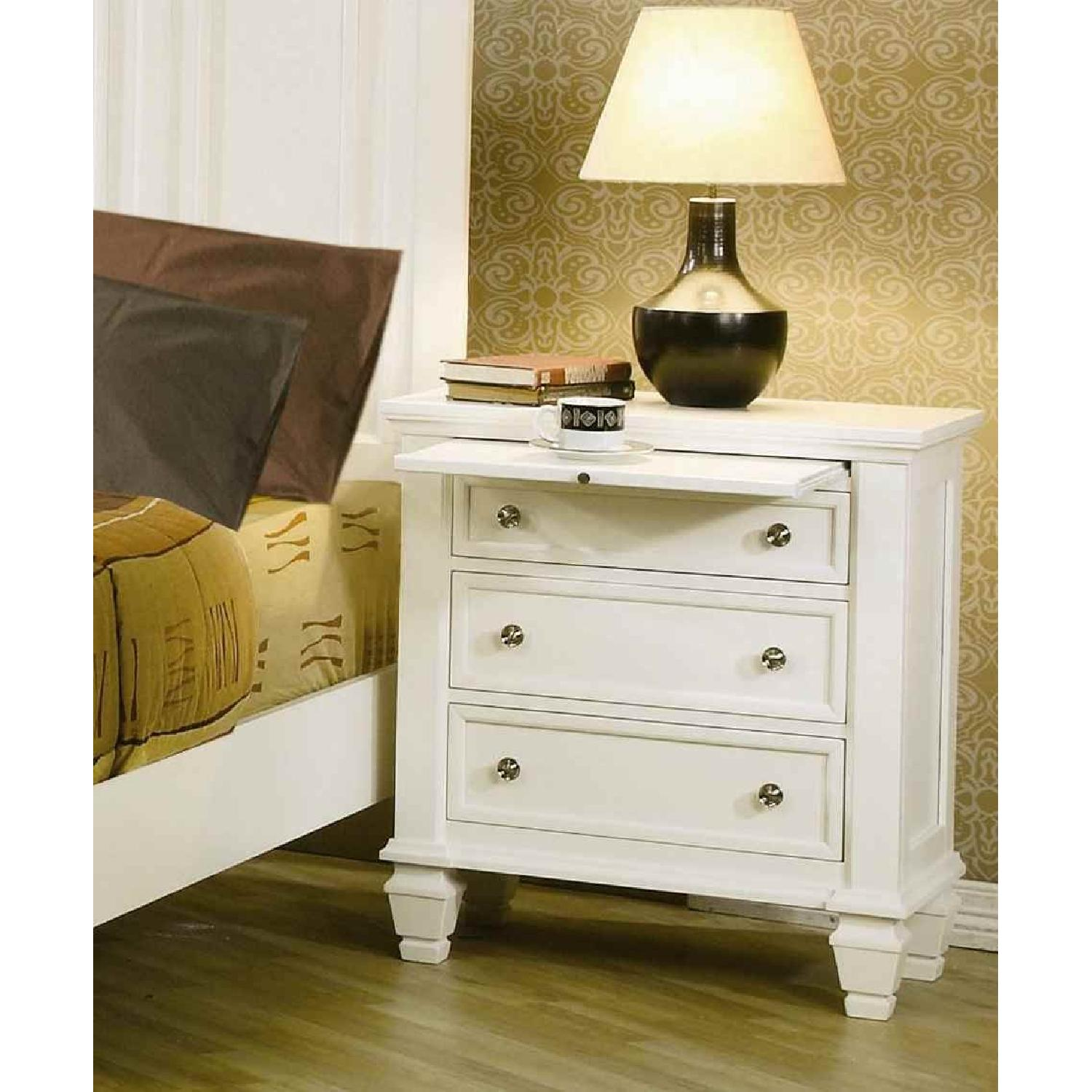 Large 3-Drawer Nightstand w/ Pull-Out Tray in White Finish - image-2