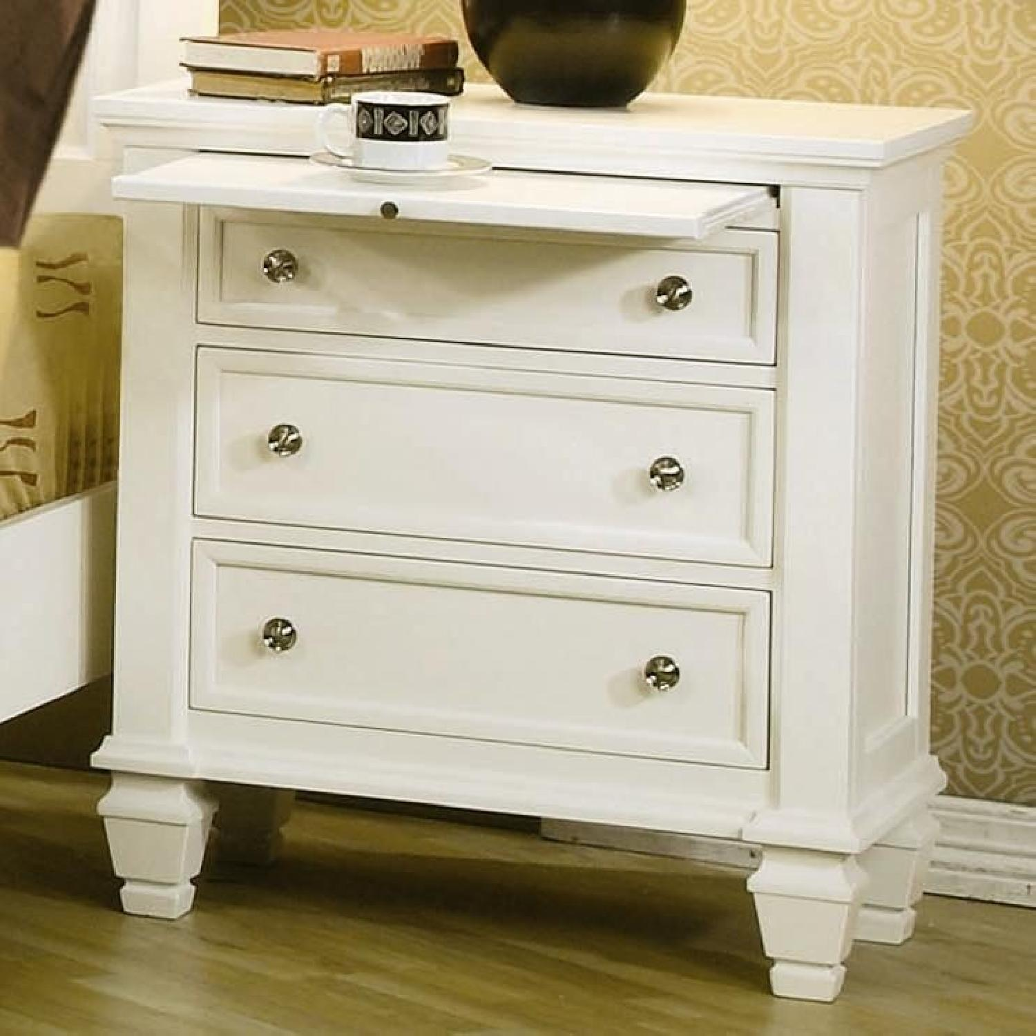 Large 3-Drawer Nightstand w/ Pull-Out Tray in White Finish - image-3