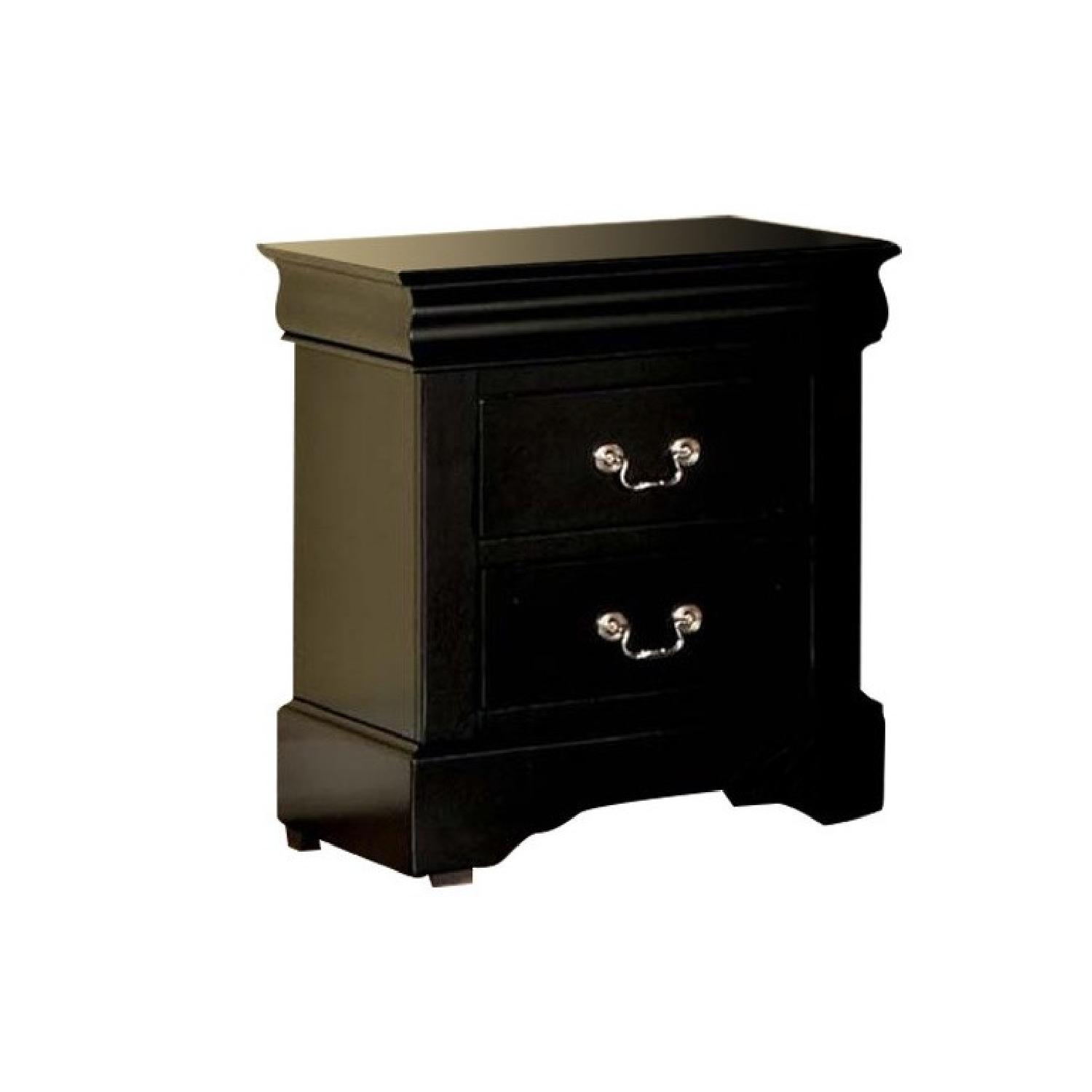 Louis Philippe Style Nightstand in Black Finish