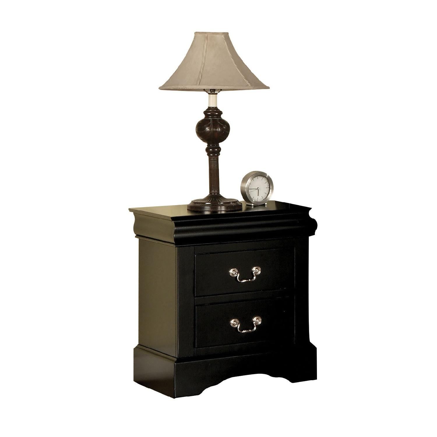Louis Philippe Style Nightstand in Black Finish - image-1