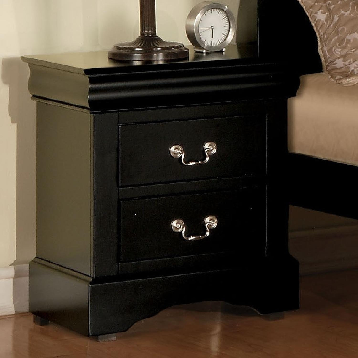 Louis Philippe Style Nightstand in Black Finish - image-2