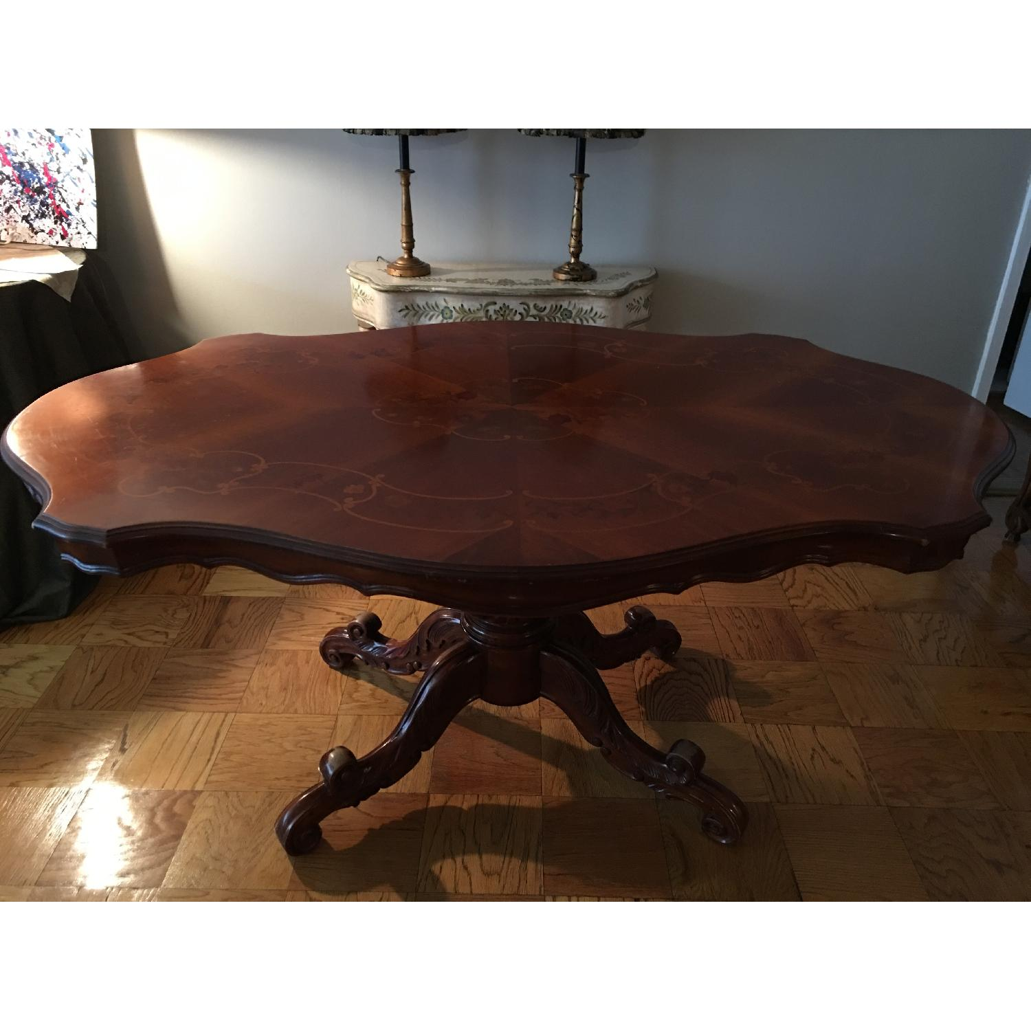 French Inlay Pedestal Table - image-1