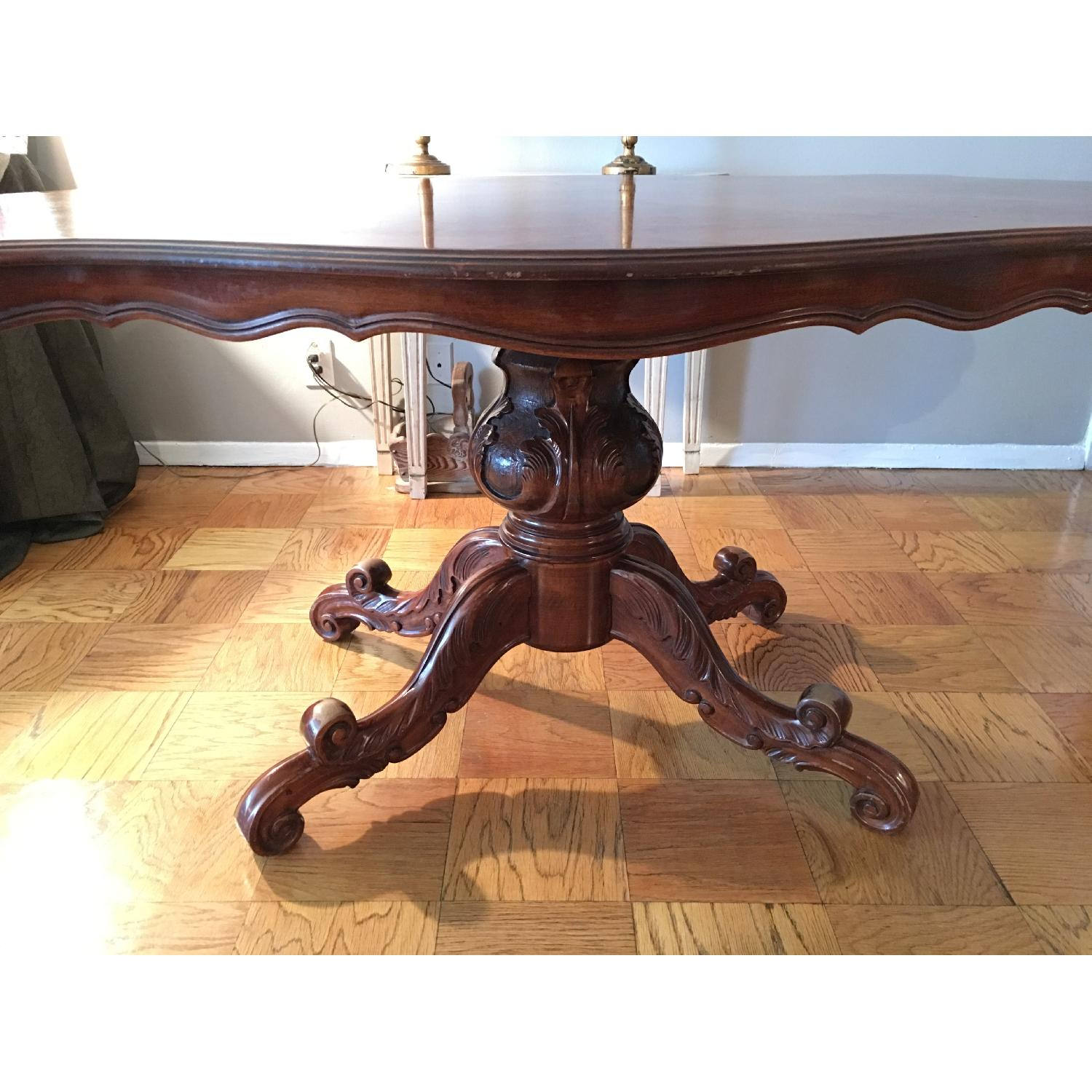 French Inlay Pedestal Table - image-3