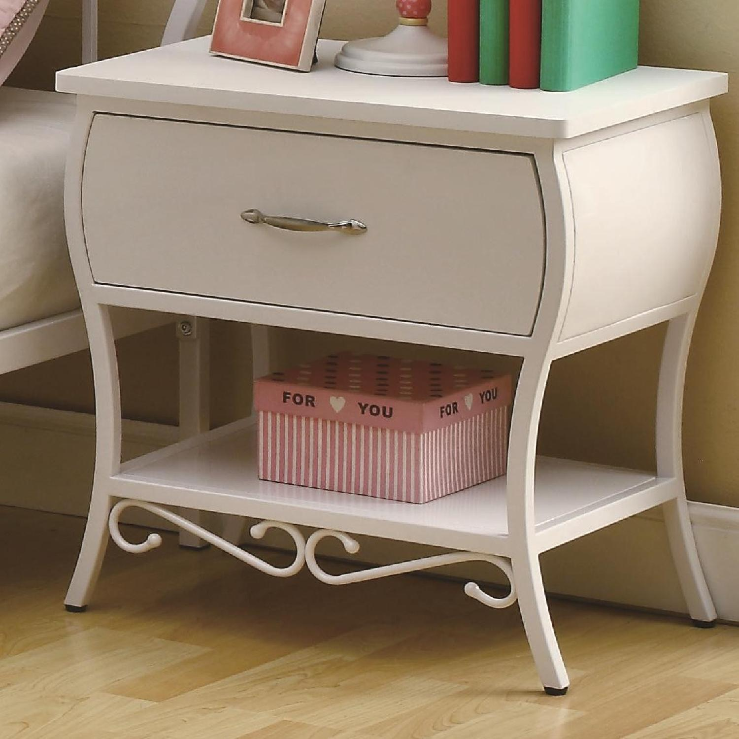 French Country Style Metal Night Table in White - image-1