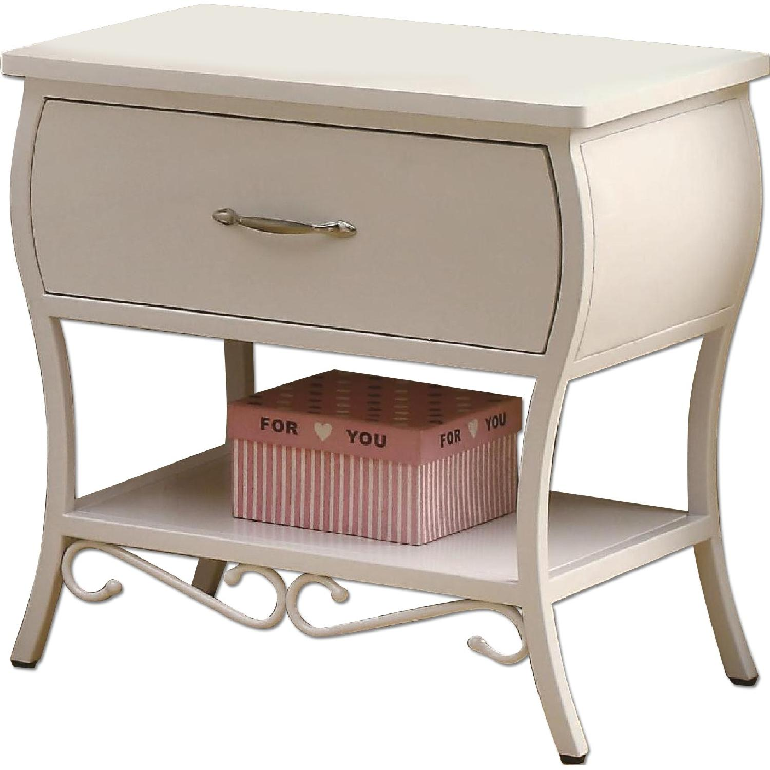 French Country Style Metal Night Table in White - image-0