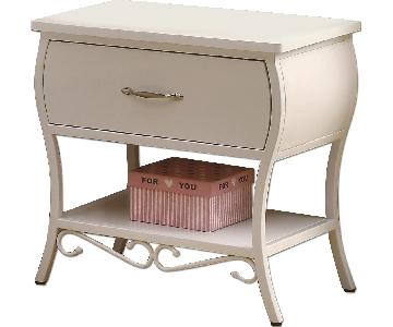 French Country Style Metal Night Table in White