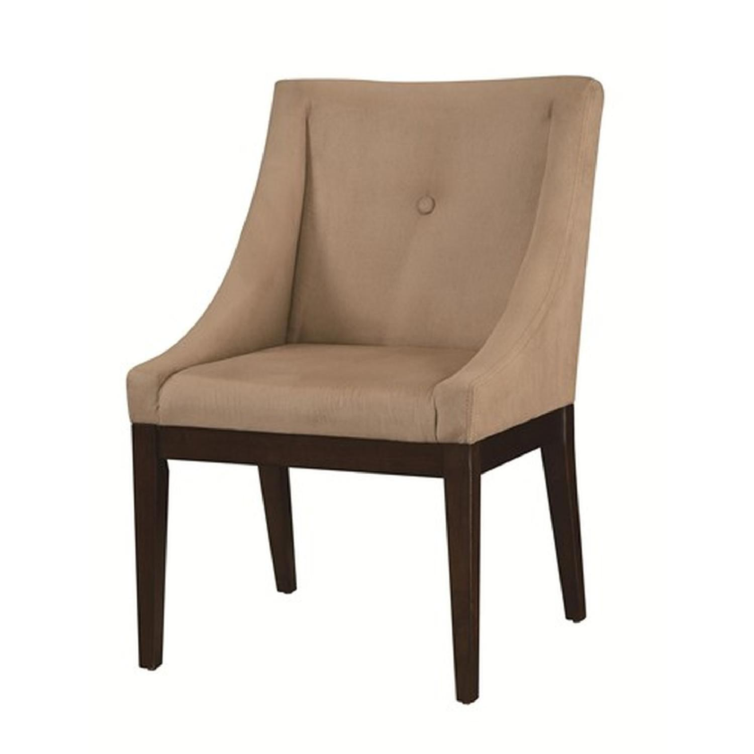 Soft Microvelvet Fabric Accent Chair in Taupe Color - image-0
