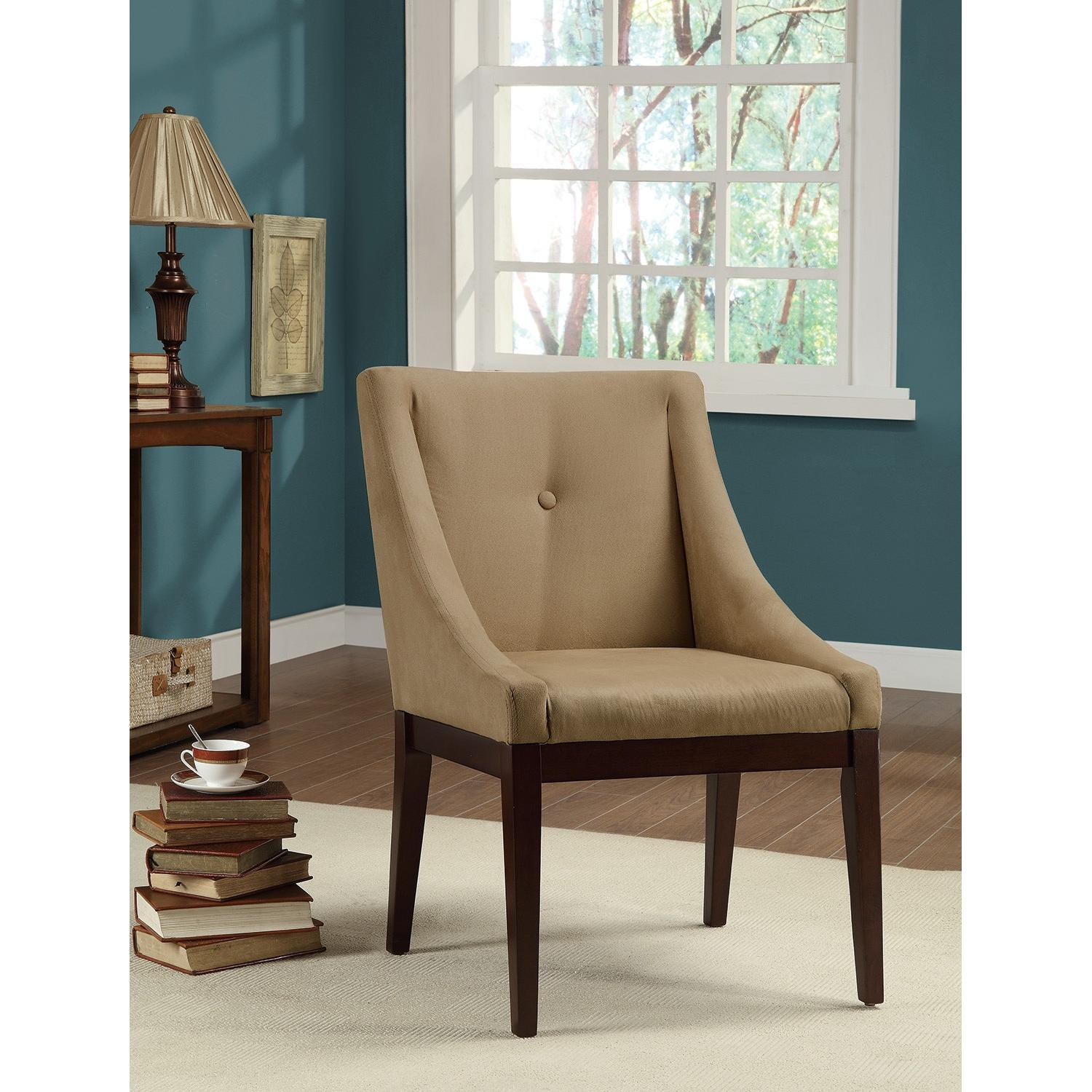 Soft Microvelvet Fabric Accent Chair in Taupe Color - image-1