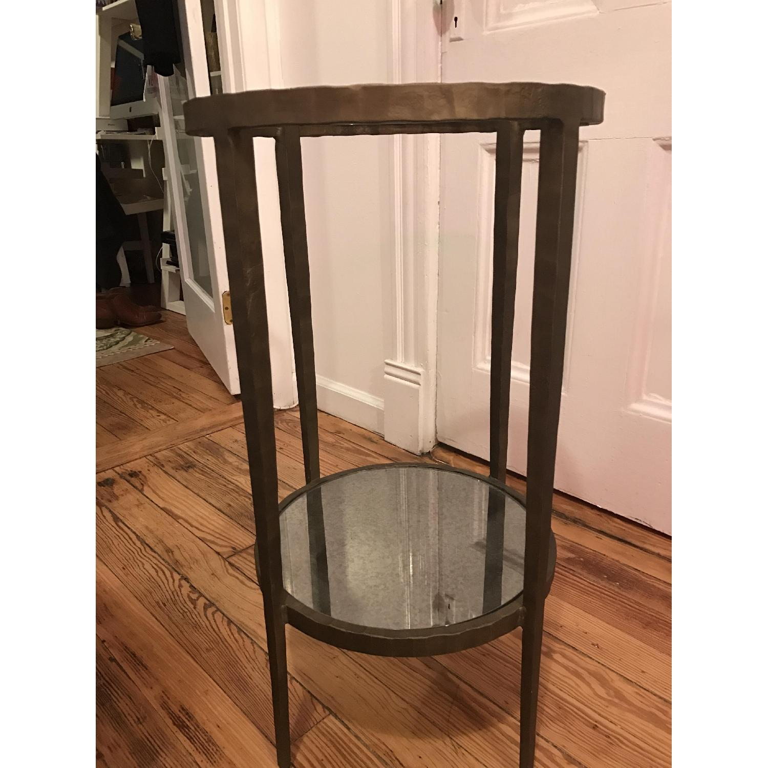 Crate & Barrel Brass & Glass Side Table - image-1