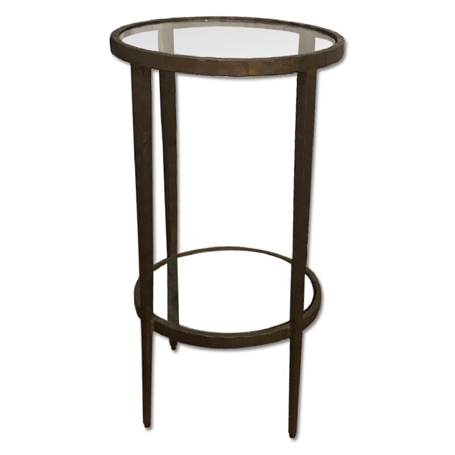 Crate & Barrel Brass & Glass Side Table - image-0