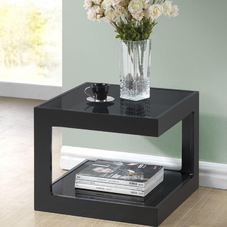 Black Modern End Tables w/ Glass Shelves - image-1