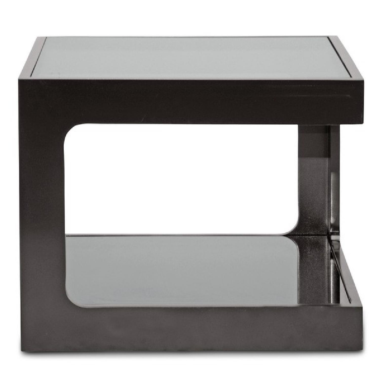 Black Modern End Tables w/ Glass Shelves - image-2